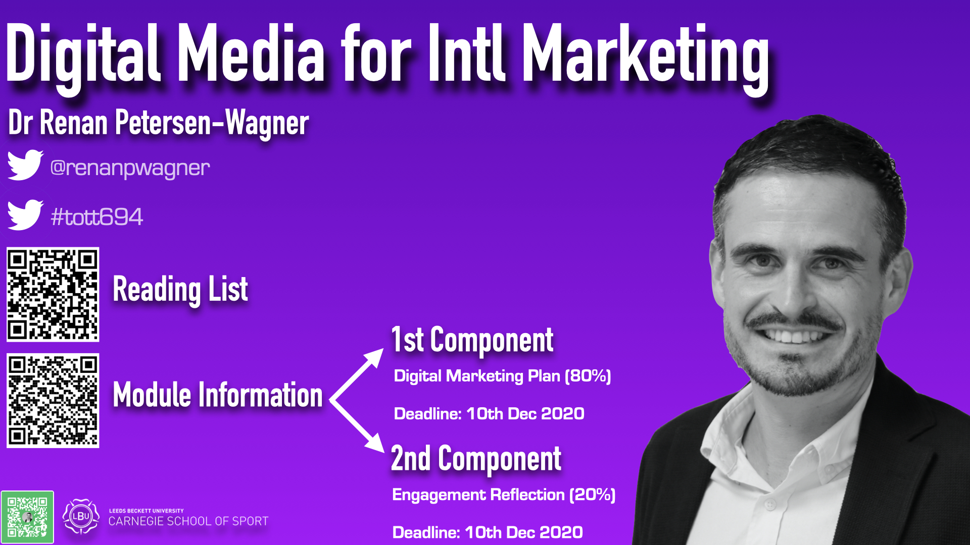 shows the information about Digital Media for International Marketing module for Sport Marketing and Sport Business Management students; has the twitter handle of the module leader (@renanpwagner), the twitter hashtag (#tott694), QR code to the reading list, and the assessment components to the module