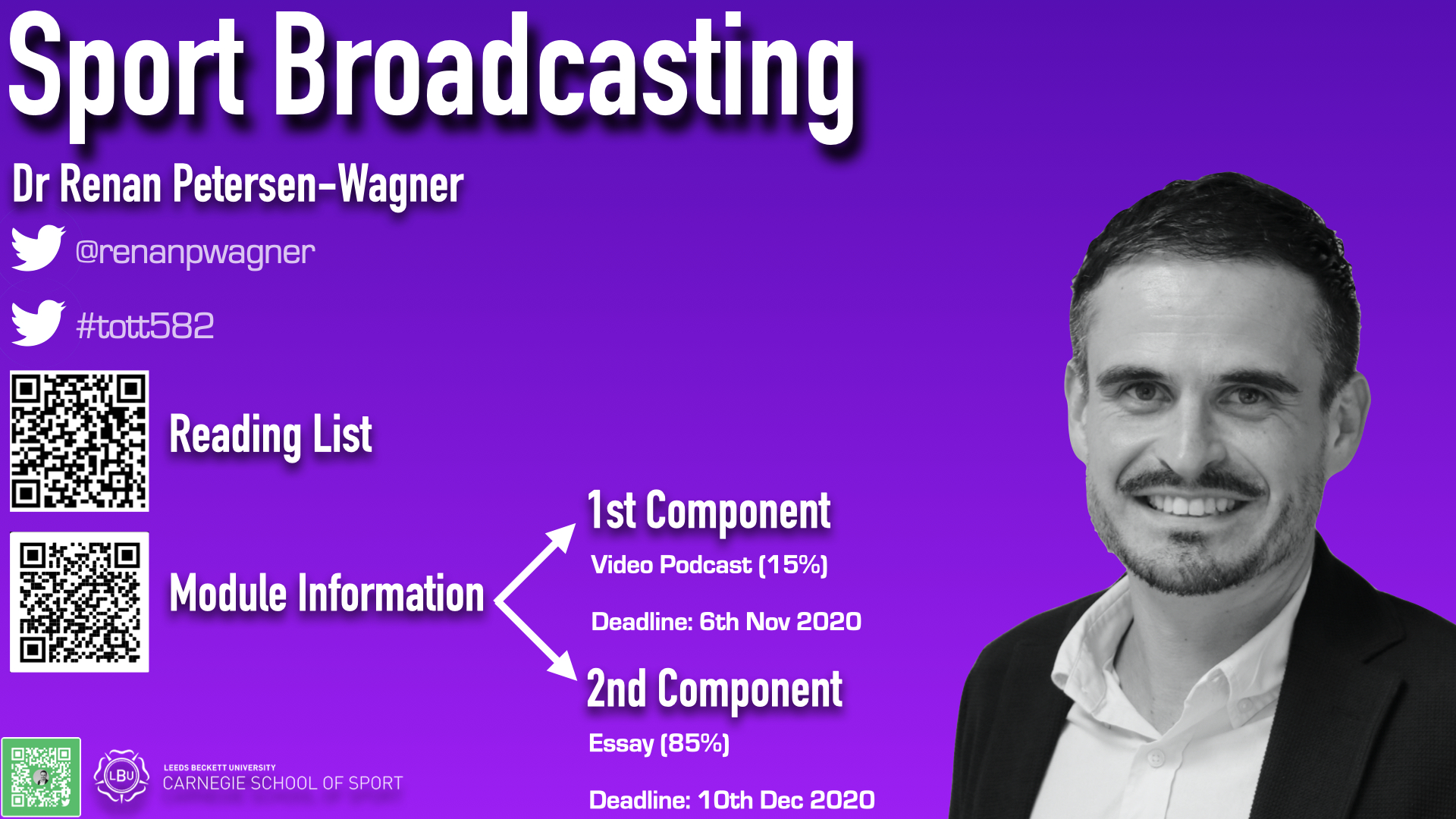 shows the information about Sport Broadcasting module for Sport Marketing and Sport Business Management students; has the twitter handle of the module leader (@renanpwagner), the twitter hashtag (#tott582), QR code to the reading list, and the assessment components to the module